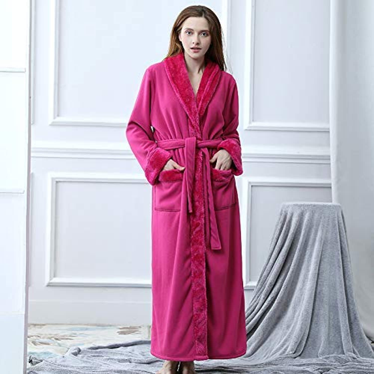 DALAI Women's Exquisite Gowns Polyester Cover Thick Men's Women's Gowns Pajamas (color   Hot Pink, Size   XL) (color   Hot Pink, Size   XL)
