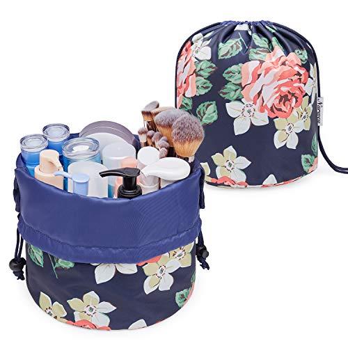 Kosmetiktasche Kosmetikbeutel Kordelzug Große Kapazität Make up Tasche Makeup Bag Tasche Kosmetik Beutel Faule für Kinder Damen Mädchen (Groß, Blaue Pfingstrose)