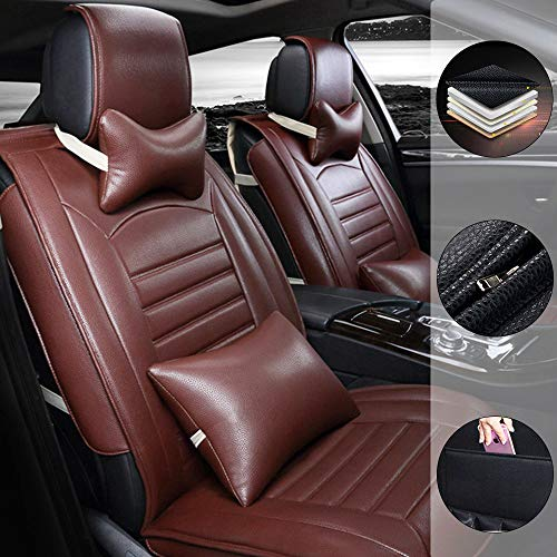 Car Seat Cover for Mercedes Benz EQC 400 4Matic 5-Seats Protection Soft Waterproof Full Set PU Leather Car Front+Rear Seat Pads Brown Luxury 9PCS