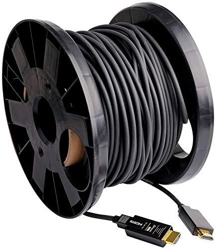 DTECH Cable HDMI de fibra óptica 60 m 4K 60Hz 444 422 420 Chroma Subsampling 18Gbps Alta Velocidad con Dos Puertos Micro HDMI y Estándar HDMI
