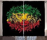 Ambesonne Rasta Curtains, Ethiopian Flag Colors on Grunge Sketchy Lion Head Black Backdrop, Living Room Bedroom Window Drapes 2 Panel Set, 108' X 90', Lime Green