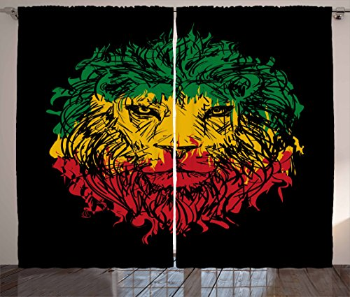 "Ambesonne Rasta Curtains, Ethiopian Flag Colors on Grunge Sketchy Lion Head with Black Backdrop, Living Room Bedroom Window Drapes 2 Panel Set, 108"" X 63"", Lime Green"