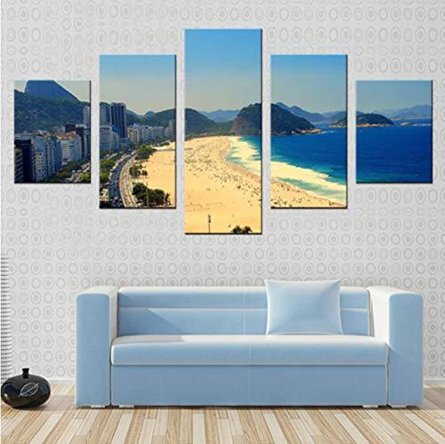 wangjingjing1 Quadro su Tela Spiaggia Brasiliana 5 Pezzi Quadro su Tela Il Soggiorno Moderno Camera da Letto Decorazioni per la casa Regalo