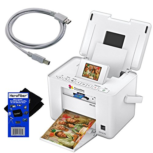 Epson PM225 PictureMate Charm Compact Photo Inkjet Printer + USB Printer Cable + HeroFiber Ultra Gentle Cleaning Cloth
