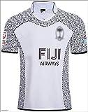 CHERSH Coupe du Monde Fidji Home and Away Rugby Jersey Fan Supporter Shirt d'entraînement Remplacer Manches Courtes Quick Dry Sportwear A-S (Color : A, Size : Medium)