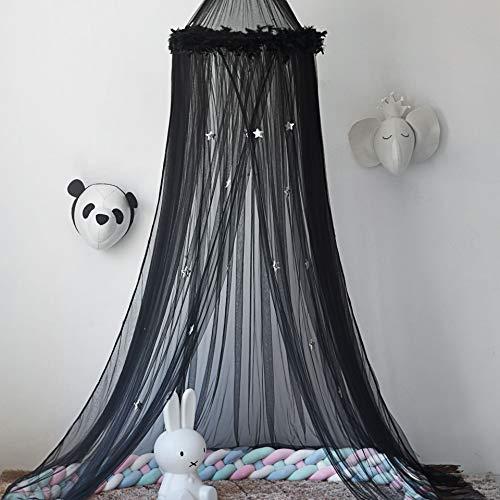 Naturer Schwarz Baldachin Betthimmel Deko Himmel Durchsichtig mit Sterne Tüll Moskitonetz Babybett Kinder Mosquito Netz Bett Mückenschutz für Babyzimmer und Kinderzimmer