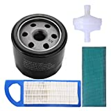 Podoy 492932s 696854 Oil Filter 697153 Air Filter for compatible with Briggs Stratton 394358 Fuel Filter 5127A 5127B Intek 15.5, 17 and 17.5 HP Lawn mower Engine Tune-Up Kits
