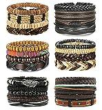 LOLIAS 24 Pcs Woven Leather Bracelet for Men Women Cool Leather Wrist Cuff