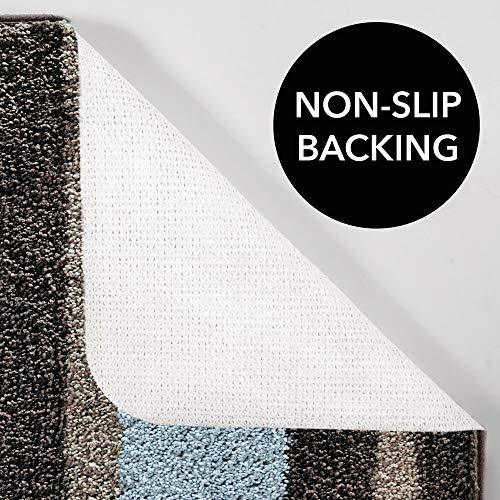 mDesign Striped Microfiber Polyester Spa Rugs for Bathroom Vanity, Tub/Shower - Water Absorbent, Machine Washable - Includes Soft Non-Slip Rectangular Accent Rug Mat in 3 Sizes - Set of 3 - Mocha/Gray