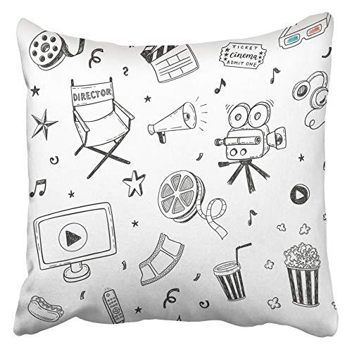 AEMAPE Throw Pillow Cases Sketch Hand Drawn Cinema Doodles Película Video Cine Cine Producción de Alimentos Palomitas de maíz 40X40 Cm Funda de cojín