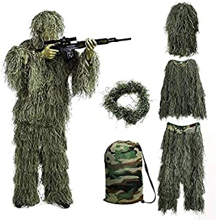 Treasure Land Ghillie Suit Camo Woodland Camouflage Forest Hunting,3D Camouflage Hunting Apparel Including Jacket, Pants, Hood, Rifle Wrap, Carry Bag Suitable for Unisex Adults