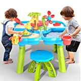 TEMI 4-in-1 Sand Water Table, 32PCS Sandbox Table with Beach Sand Water Toy, Kids Activity Sensory Play Table Summer Outdoor Toys for Toddler Boys Girls