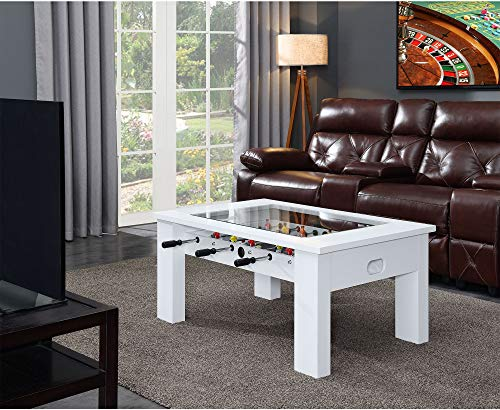 Hanover Foosball Coffee Table with Telescopic Rods and Counterbalanced Players, White