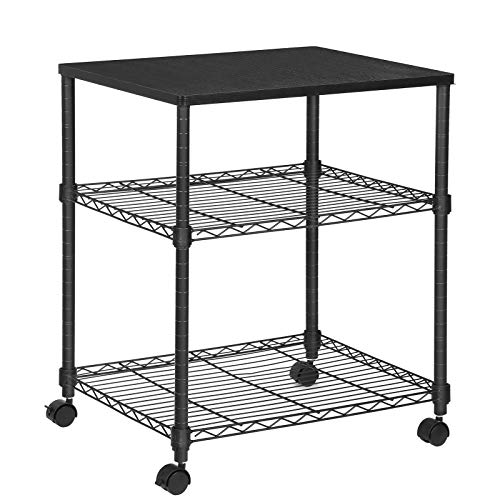 SONGMICS 3-Tier Printer Stand, Rolling Printer Cart on Wheels, Fax Stand with Metal Frame, Black ULGR32BK