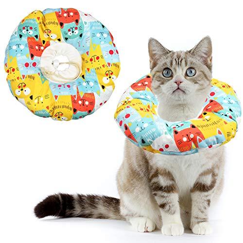 AvoDovA Katze Schutzkragen, Halskrause Katze Halsband Soft, Katze Wiederherstellung Halsband, Haustiere Schutzkragen Einstellbarer Schützender Baumwollring Protective für Katze und Hund (S)