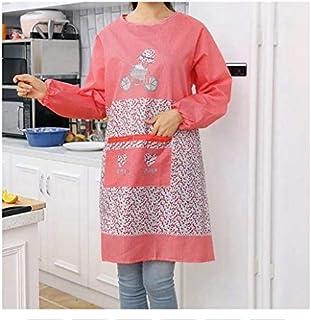 HUIJUNWENTI مطبخ المئزر للمرأة الطبخ الخبز مطعم المئزر أدوات التنظيف المنزل طويلة الأكمام المرايل المطبخ, Red