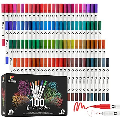 Zenacolor - Rotulador Doble Punta - 100 Colores Únicos y Vivos -...
