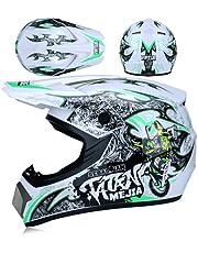 CJXXRW Helm voor volwassenen met stippen, crosshelm voor kinderen, allround motorhelmen voor kinderen en volwassenen, met handschoenen, brillen/gezichtsdisplay