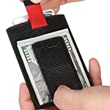 [Kinzd] マネークリップ 本革カードケース マグネットタイプ RFIDブロッキング 薄型 コンパクト財布 (ブラック)