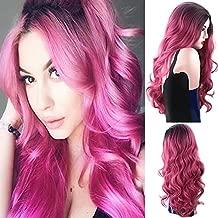 Royalvirgin Negro y rosa Ombre largo cuerpo onda resistente al calor sintético medio de separación cosplay pelucas para las mujeres con tapa de peluca libre