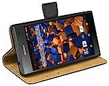 mumbi Bolso de Cuero Genuino Estilo de Libro Compatible con Sony Xperia Z5 Compact, Negro