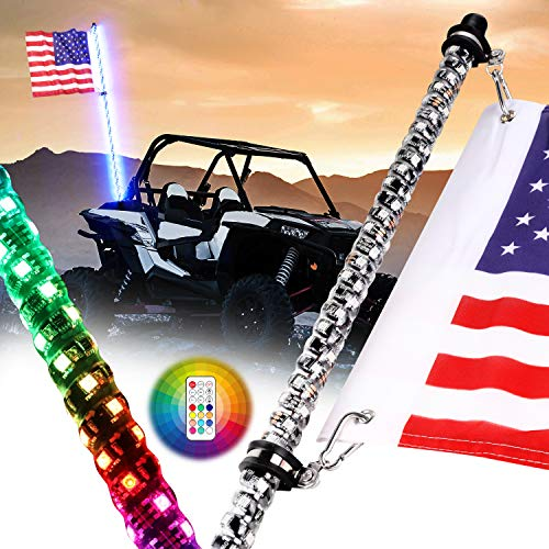 Nirider 4ft LED Whip Light with Flag Pole Remote Control Spiral RGB Chase Light Offroad Warning Lighted Antenna LED Whips for UTV, ATV, Off Road, Truck, Sand, Buggy Dune, RZR, Can-am, Boat