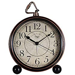 JUSTUP Silent Table Clock ,5.2 in Retro Vintage Non-Ticking Desk Table Clock Small Decorative Alarm Clock Battery Operated with Large Numerals and HD Glass for Kids Sensors Indoor Decor(Black)