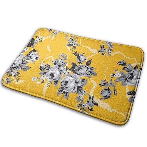 BLSYP Vintage Chintz Rosen Muster Gelb Tür Fußmatte Matten Fußmatte rutschfeste Eingang Teppich Boden Stuhl Matte Indoor Outdoor Teppich Willkommen Teppich Customized