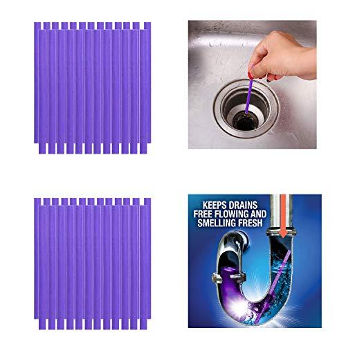 Qisiewell Abflussreiniger Sticks 50 Stück Lila Rohrreiniger Enzymreiniger für verstopfte Rohre im Bad Spülbecken Dusche Küche Spülbecken & WC & Waschbecken Badewanne und vieles mehr