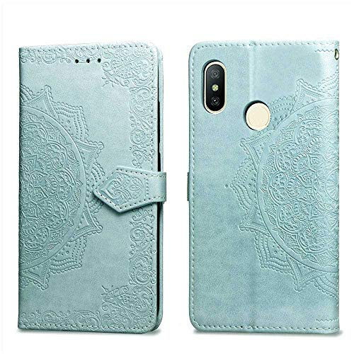 Bear Village Hülle für Xiaomi MI Max 3, PU Lederhülle Handyhülle für Xiaomi MI Max 3, Brieftasche Kratzfestes Magnet Handytasche mit Kartenfach, Grün