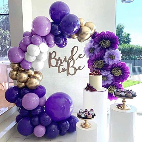 Purple Balloon Garland Kit 110 Pack, Latex Gold Confetti Balloons Metallic Gold Balloons White for Engagement Wedding Birthday Party Baby Shower