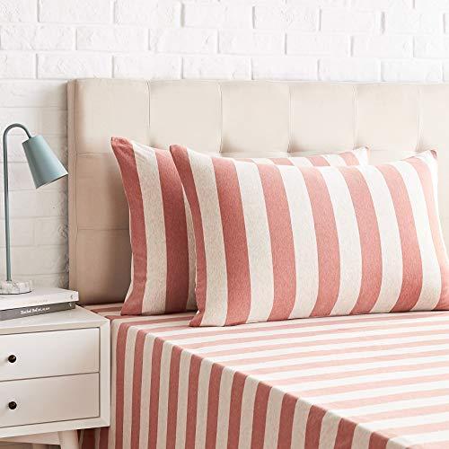 AmazonBasics - Juego de 2 fundas de almohada, diseño de rayas amplias, 50 x 80 cm, Rojo