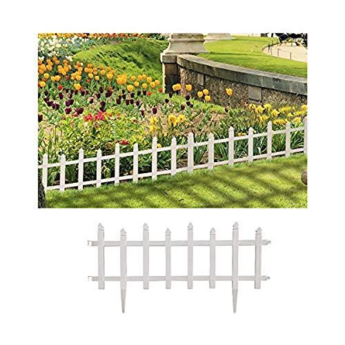 Comercial Candela Valla para Jardín Plástico PVC Diseño Tradicional para Decoración y Proteger los Bordes del Césped, Patio o Jardineras en Tierra 5 Unidades