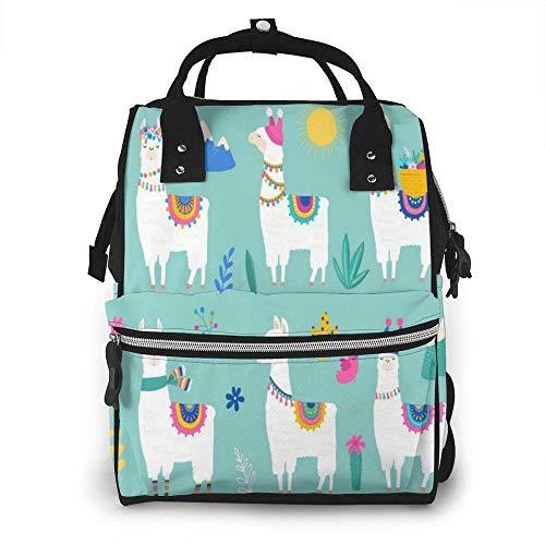 Cyloten Diaper Bag Cute Lama Alpaca Cartoon Llama Cactus Travel Bag Multi-Function Canvas Nursing Bag Stylish and Durable Mummy Backpack with Portable Handle & Smooth Zipper for Care.