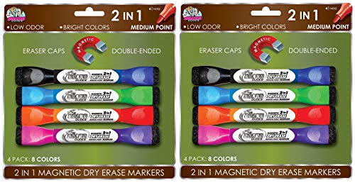 Board Dudes Double-Sided Magnetic Dry Erase Markers Assorted Colors 4-Pack (DDX89) (2-(Pack of 4))