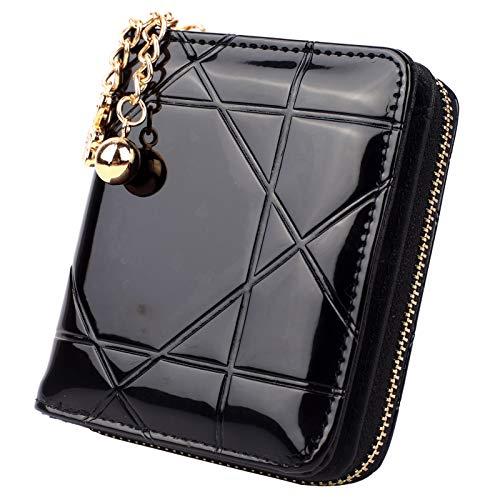 Geldbörse Damen Klein PU Leder Mini Münze Portmonee mit Reißverschluss mit 8 Kartenfächer Geldbeutel Brieftasche für Frauen mit Herzanhänger Schwarz
