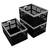 Qsbon 3-Pack 40 L Plastic Folding Storage Crates, Collapsible Basket