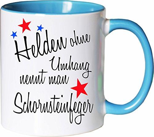 Mister Merchandise Becher Tasse Helden ohne Umhang nennt Man Schornsteinfeger Kaffee Kaffeetasse liebevoll Bedruckt Beruf Job Geschenk Weiß-Hellblau