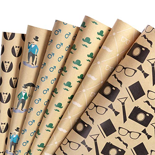 RUSPEPA Kraftpapierbogen - Fliege/Hut/Brille/Kamera/Bart/Gentlemen Theme Retro Design Ideal Für Vater, Feiertag Und Besondere Anlässe - 6 Blatt Als 1 Rolle Verpackt - 44,5X76 CM Pro Bogen