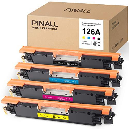 PINALL 4 Toner compatible con HP 126A CE310A CE311A CE312A CE313A para HP Laserjet CP1025 CP1025nw CP1020 M175a M175nw Pro 100 MFP M175a M175nw M275 TopM275a M275nw Impresora