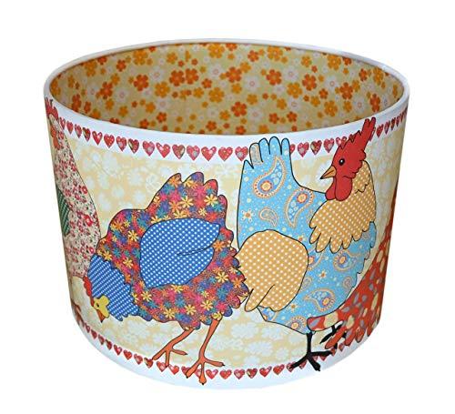 Hühnerlampenschirm MollyMac | Mit gelbem Blumenmuster gefüttert | Bunte Hühner | 21 x 30 cm | Decke oder Lampensockel | Vielseitiges Zuhause | Landhaus