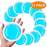 Round Reusable Gel Ice Packs(12 Pack) with Cloth Backing for Hot or Cold Compress, Great for Kids Injuries, Wisdom Tooth, Breastfeeding, Headaches, Sinus Pain, Reduce Swelling or Soreness - Blue