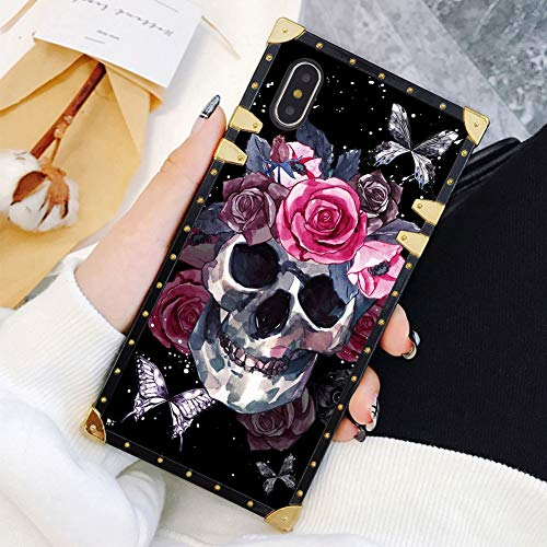 Square Case Compatible iPhone Xs iPhone X Case Skull Rose Butterfly Luxury Elegant Soft TPU Shockproof Protective Metal Decoration Corner Back Cover iPhone XS/X/10 Case 5.8 Inch