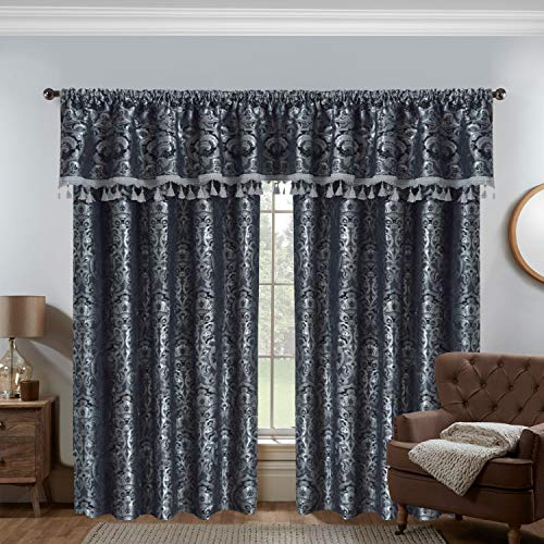 Oxford Homeware Heavy Weight Jacquard Grey Curtains Fully Lined Thick Curtains Pencil Pleat Curtains with Pelmet and Matching Tie Backs (Georgia Grey, 66″ x 90″ (168cm x 228cm))