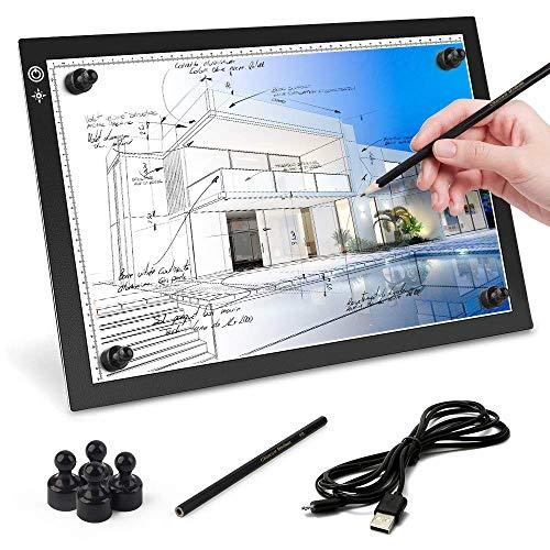 A3 Tracing Light Box Mesa de Luz de Dibujo LED A3 de Luz Regulable Almohadilla Caja Portátil Ultradelgada Tablero de Copia con Cable USB para Dibujar Animación Pintura Dibujo Diseño de Plantillas