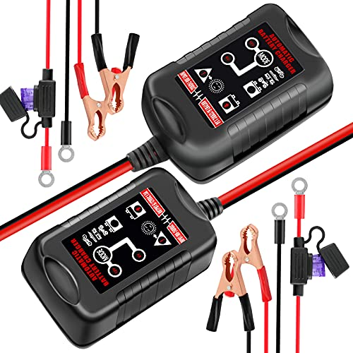 6V&12V Car Battery Charger , Trickle Charger, Automatic Smart Charger, Battery Maintainer, Battery Desulfator, for Car、Motorcycle、Electric Vehicle、Lawn Mower and Marine with Lead-Acid Batteries( 2pcs)