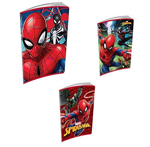QUADERNI Spiderman 3 pezzi SCUOLA a quadretti 5 mm con margine Quadro Q e omaggio portachiave fischietto
