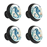 Crazy Seahorse Blue Ocean 4pcs Round Door Knobs Interior Dresser Drawers Pulls Handle Cabinet Knob Crystal Glass Handles with Screws for Kitchen Bedroom Bathroom Home Office Decor