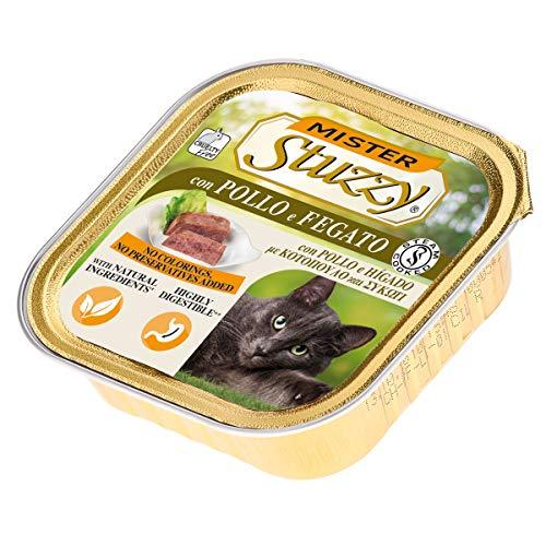 Stuzzy Mister, Comida húmeda para Gatos Adultos, Sabor Pollo e hígado, línea paté y Carne en trozos - Total 3,2 kg (32 tarrinas x 100 gr)