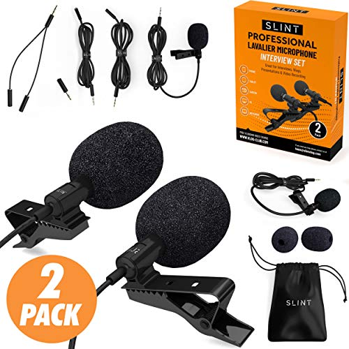 Lavalier Lapel Microphone 2 Pack Bundle - Professional Omnidirectional Lavalier Mic with Clip-on Lapel Mic Compatible with iPhone, Samsung Android, GoPro & DSLR - Lapel Microphone for YouTube